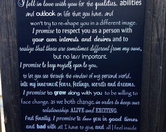 """CUSTOM Wedding Vows Wood Sign 24"""" x 36"""" Personalized Vows Subway Sign Wedding Vows Home Decor Anniversary Gift for Her Gift for Him"""