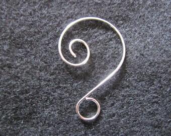 """2"""" Silver Plated Fancy Swirl Wire Hanging Hook, Ornamental Hook, Ornament Hanger, Suncatcher Hook"""