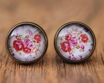 Floral Earrings, Rose Earrings, Red Roses, Studs, Stud Earrings, Small Studs, Post Earrings, Glass Dome Earrings