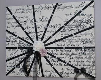 Script French memo board / fabric wall art