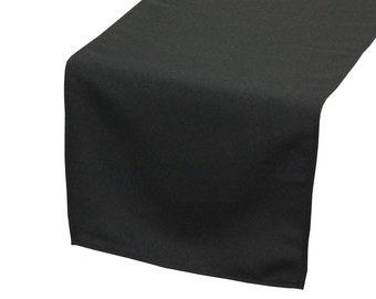 YCC Linen - Black Polyester Table Runner | Wedding Table Runners
