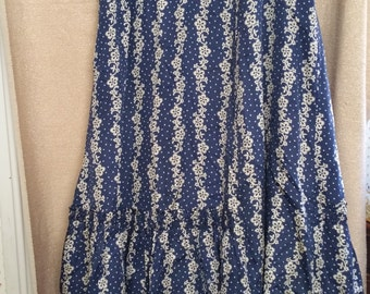 Victorian Blue and White Silk Dress with Ecru Lace