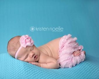 newborn BLUSH ruffled pant and headband set, newborn girl headband, newborn baby girl photo prop