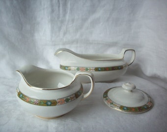 D. E. McNicol Creamer, Gravy Boat and Sugar Bowl Lid with Floral Pattern