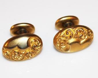 VICTORIAN Gold Filled Art Nouveau Repouse Cuff Links Cufflinks-Estate Jewelry