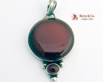 Round Carnelian Pendant Sterling Silver