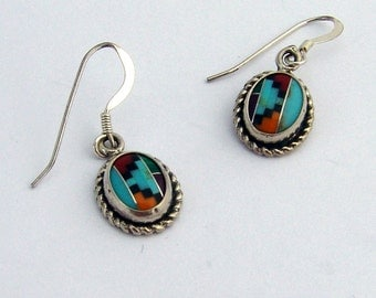 Mosaic Inlay Dangle Earrings Sterling Silver