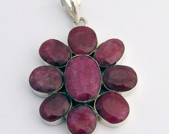 Natural Ruby pendant Sterling Silver