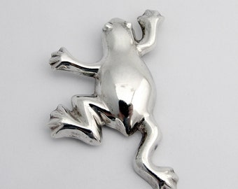 Frog Brooch Sterling Silver