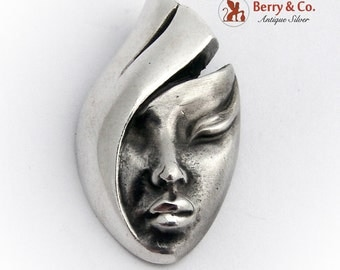 Female Stylized Mask Pendant Sterling Silver