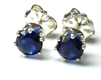 Sterling Silver .7 Carat Blue Sapphire Earrings