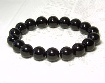 "Cynthia Lynn ""SIMPLE ELEGANCE"" 12mm Black Agate Beaded Stretch Bracelet 7.5"""