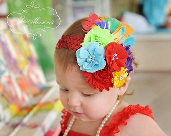Rainbow Headband/ Birthday Headband/Toddler Headband/Girl Headband/Newborn Headband/Flower Headband/Gold Headband/Baby Headband