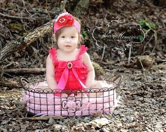 Valentines Romper Set/Petti Romper Set/Hot Pink  Petti Romper/Baby Petti Romper/Infant Petti Romper/Toddler Petti Romper/Girl Petti Romper