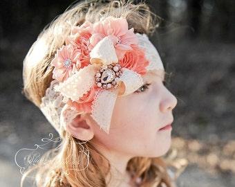 Peach Headband/Toddler Headband/Girl Headband/Newborn Headband/Flower Headband/Baby Headband/Flower Girl Headband/Infant Headband/Photo Prop
