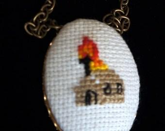 Burned Church X stitch Necklace