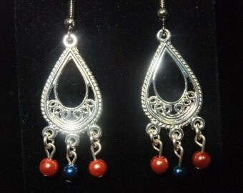 Blue & Orange Beaded Silver Chandelier Earrings