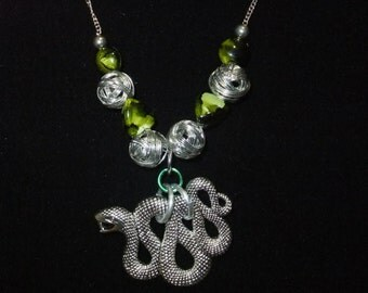 Slytherin Green & Silver Necklace (S2) - Great Gift for Fans of the Books or Movies!