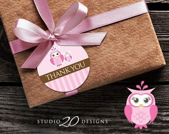 Instant Download Pink Owl Thank You Tags, Printable Pink Brown Owl Gift Tags, Owl Baby Shower Thank You Tags, Blush Owl Favor Tags 23E
