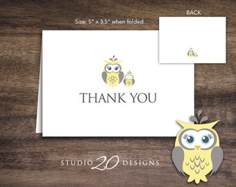 Instant Download Yellow Owl Thank You Card, Folded Yellow Grey Owl Baby Shower Thank You Card, Folded Owl Birthday Thank You Card 23G
