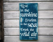 Rustic Wall Art, Live In The Sunshine Sign, Handmade Wooden Sign, Beach House Decor
