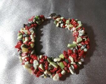 Beautiful Colored Agate Chip Gemstone Bracelet, Womens Jewelry, Handmade Bracelet, Gemstone Bracelet, Womens Bracelet, Gemstone Jewelry
