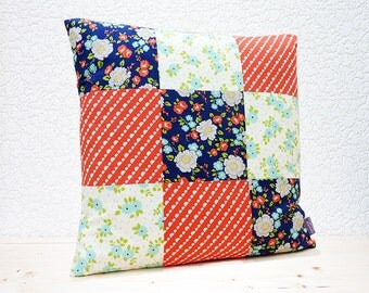 "Handmade 18""x18"" Cotton Cushion Pillow Cover Patchwork Red/Navy/Aqua Floral Happy Go Lucky by Bonnie & Camille Design Print"