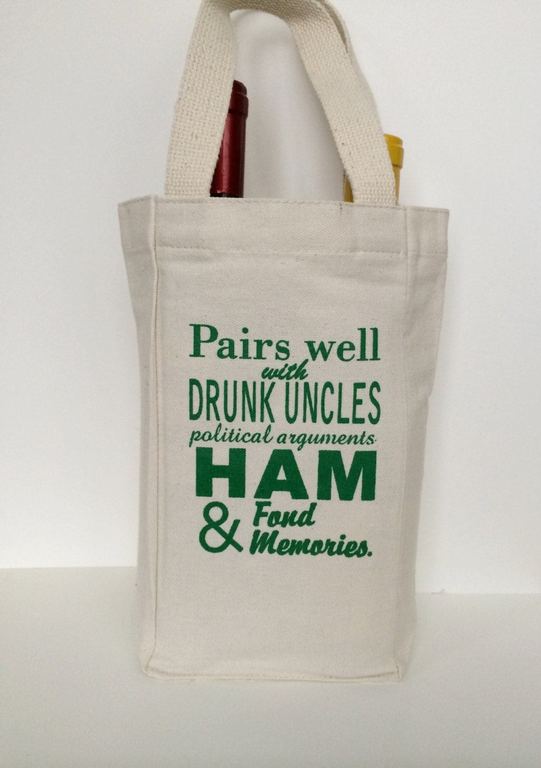Wine gift bag funny holiday tote screen printed