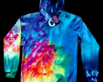 Snowboarders Spiral  Hoodie Tie Dye American Apparel