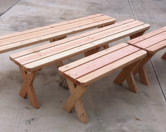 Redwood Picnic Bench. 6 ft x 1 ft. (18 inches high)