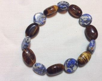 Tigereye and African Sodalite Polished Stone Bracelet