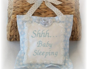Baby Sleeping Door Hanger, Embroidered Baby Sleeping Pillow,  Cottage Chic Baby, Pink Baby Door Hanger, Baby Sleeping Pillow Door Hanger