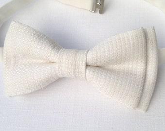 Men's ivory textured bow tie. Ivory cream checkered necktie wedding grooms gift
