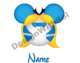 Alice Ears customized with name of your choice available as file to print on iron on transfer paper