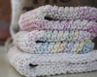 Go Green and Reuse Set of Three Hand Crocheted Dish or Bath Cloths made of cotton