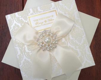 Wedding Invitations Foil Stamping Embellished , A Set Of 100