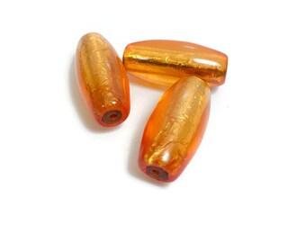 Vintage Gold Orange Venetian Glass Tubes 11x25mm 3pcs
