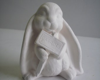 Ceramic rabbit ready to paint ceramic bisque Lop ear bunny holding carrot sign