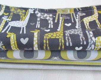 Gender Neutral Burp Cloth Set, Grey and Yellow Giraffes, Silver Gray Minky Burp Cloth Set