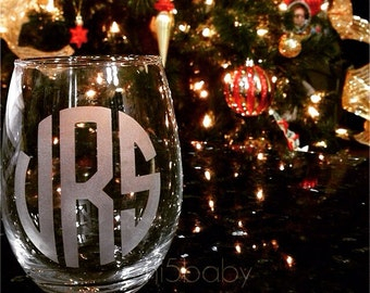 Monogrammed etched stemless wine glass/personalized wine glass/stemless wine glass/ sand blasted/etched glass/ monogrammed wine glass