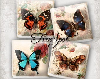 Vintage Butterfly- Digital Collage Sheet 1.5 inch,1 inch,25mm, 20mm  Square Printable Download for Glass Pendants,Scrapbooking,Bottlecaps