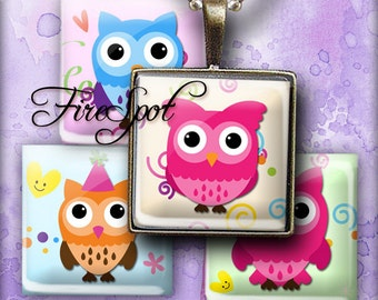 Owl Bird animals - Digital Collage Sheet 1.5inch,1 inch,25 mm,20 mm Square Glass Pendants, Bottlecaps,Scrapbooking Instant Download
