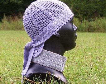 "cap "" Bandana/crochet/summer/mod/silk - cotton/lilac color/spring/ethnic/hippie/by ELENAMODA"
