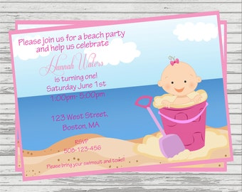 Beach Party First Birthday Invitation. Girl and Boy version available.