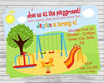 Girl and Boy Playground, Park DIGITAL Birthday Invitation.