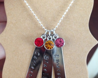 Mothers 3 bar necklace with birthstones for Parent or Grandparent Jewelry