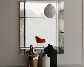 Frameless antiqued mirror. Decorative wall mirror with handmade distressed, smoked glass mirror. Art Deco Wall Mirror.