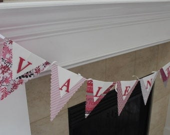 Valentine Banner, Holiday Pennant Banner, Valentine Pennant Banner