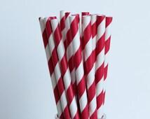 Red Striped Paper Straws-Red Straws-Striped Straws-Party Straws-Wedding Straws-4th of July Straws-Mason Jar Straws-Shower Straws