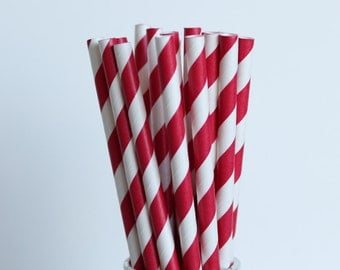 Red Striped Paper Straws-Red Straws-Striped Straws-Party Straws-Wedding Straws-4th of July Straws-Mason Jar Straws-Shower Straws